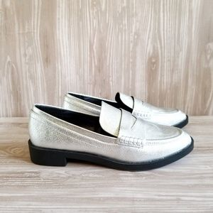 A New Day Kari Silver Metallic Penny Loafers